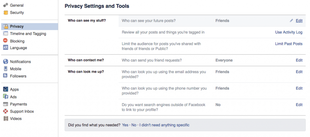 Facebook Privacy Settings and Tools page