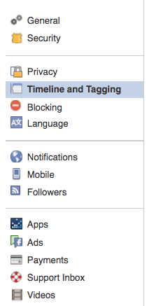 Facebook setting options
