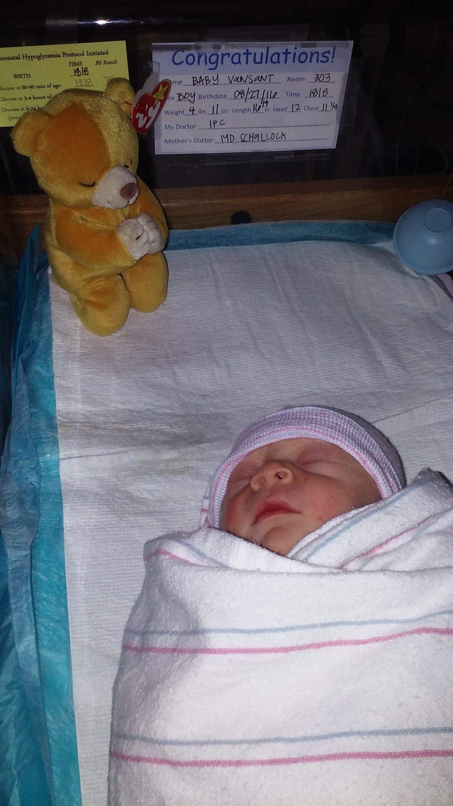 Baby Peanut all wrapped up.