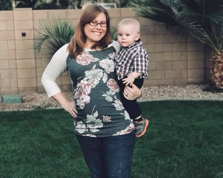 Jacquelyn Van Sant at 30 weeks pregnant and 14-month-old son at Thanksgiving 2017.