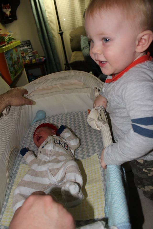 Peanut being introduced to his new baby brother.