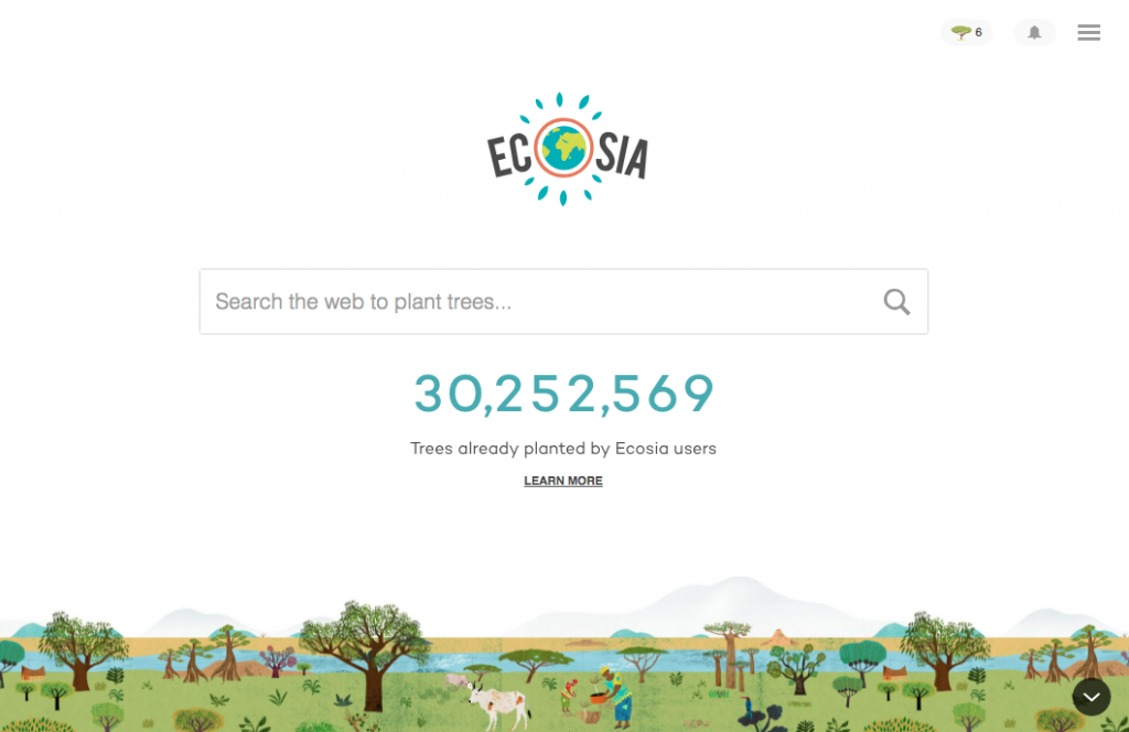 Screenshot of the search engine Ecosia