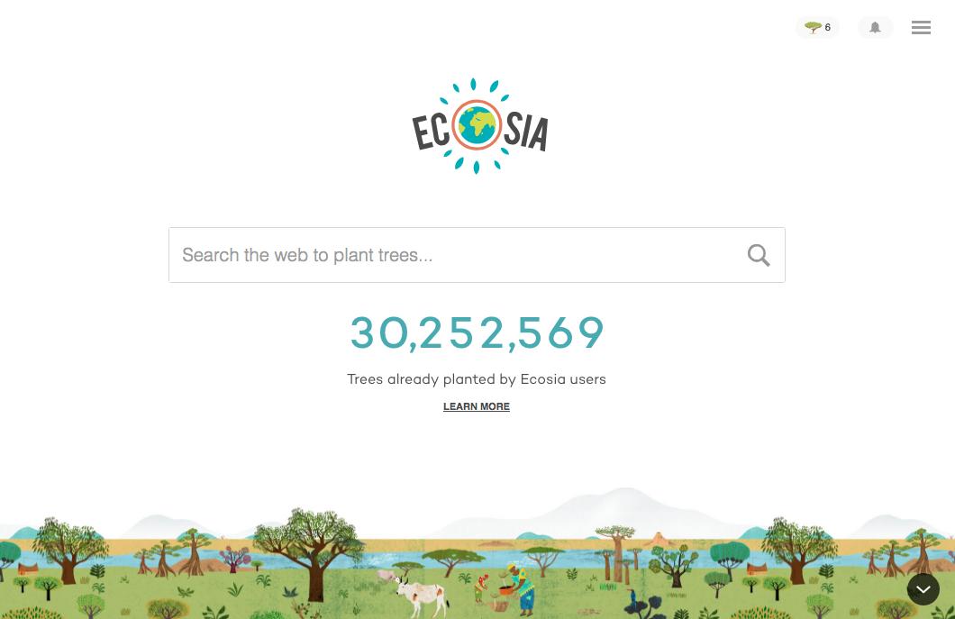 Screenshot of the search engine Ecosia