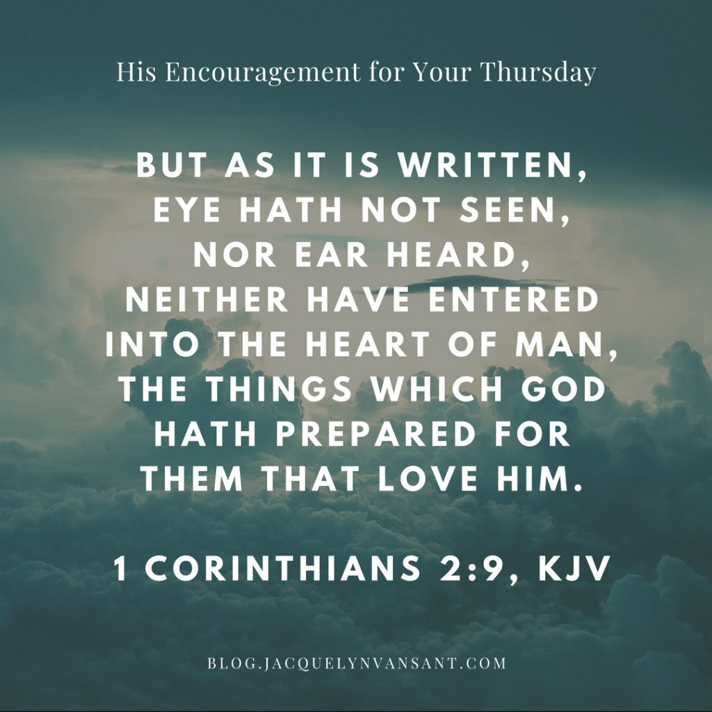 1 Corinthians 2:9 says Eye hath not seen nor ear head, neither have entered into the heart of man, the things which God hath prepared for them that love him.