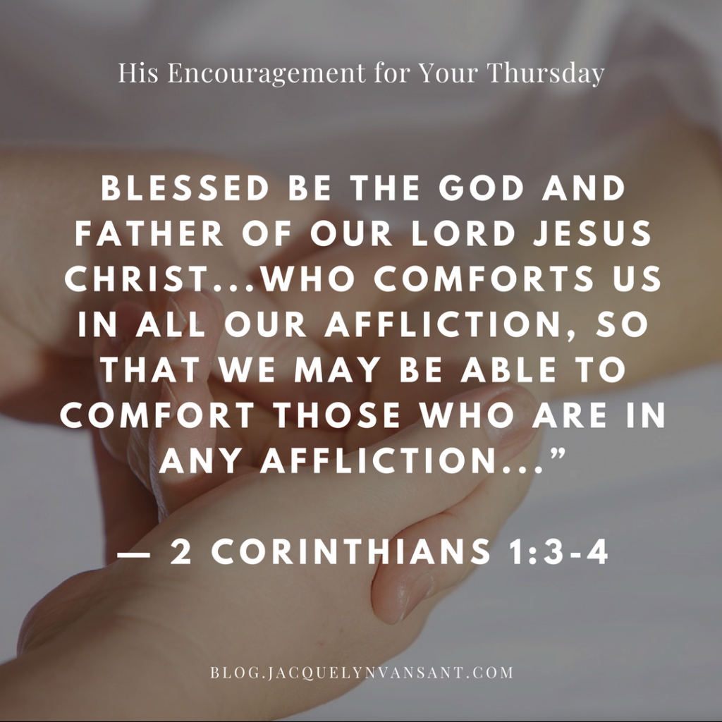"2 Corinthians 1:3-4 quoted: ""Blessed by the God who comforts us in all our afflication."""